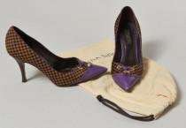 strong Louis VUITTON, Jolie paire d escarpins en poulain motif damier et 0116b694ba14