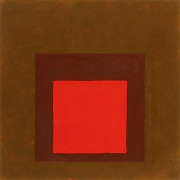 Josef ALBERS (1888-1976) HOMMAGE TO THE SQUARE, (RED, BROWN), 1960-1965 Huile sur papier...