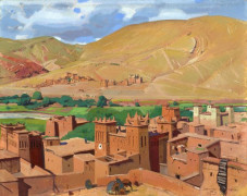 Jacques MAJORELLE (Nancy, 1886 - Paris, 1962) Irounen, Grand Atlas, Vallée d'Ounila, 1921 Détrempe sur panneau