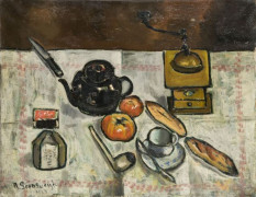 Nathan GRUNSWEIGH (Cracovie, Pologne, 1880 - 1943) NATURE MORTE AU MOULIN A CAFE, 1923 Huile sur toile