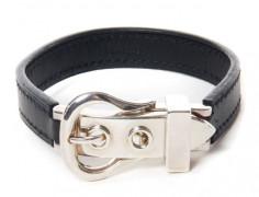 c15ceda6c6bb HERMES Paris made in france Bracelet en box noir et argent, fermoir  figurant une boucle