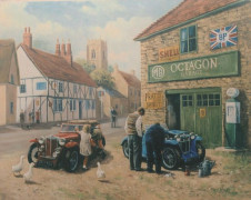 "Kevin WALSH - ""MG TF, devant le garage M.G. Octagon, dans un village britannique""  Collection André Lecoq"