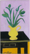 Jean HUGO 1894 - 1984 BOUQUET POT JAUNE, TABLE NOIRE - 1974 Gouache sur papier