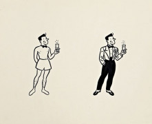 Yves CHALAND 1957-1990 JEUNE HOMME AU CHAMPAGNE
