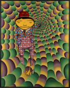 OS GEMEOS Nés en 1974 O DIAM EM QUE A PRIMAVERA VIROU OUTONO (THE DAY SPRING BECAME FALL) - 2014 Technique mixte sur bois