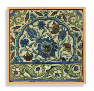 "CARREAU AU DÉCOR FLORAL ET ""ÇINTAMANI"", DAMAS, ART OTTOMAN, VERS 1580-1600"
