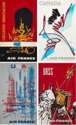 Georges MATHIEU (1921-2012)  Air France - Grande-Bretagne-Canada-USA-URSS