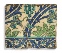 CARREAU À DÉCOR FLORAL, DAMAS, ART OTTOMAN, 1570-1580