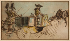 Constantin Guys Flessingue, 1802 - Paris, 1892 Voiture de gala à Londres Plume et encre brune, aquarelle