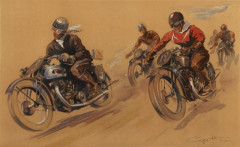 Géo HAM (Georges Hamel) 1900-1972 Course de motards