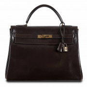 HERMÈS 1972  Sac KELLY 32 Box marron Garniture métal plaqué or Usures aux angles  KELLY 32 bag Brown calfskin leat...