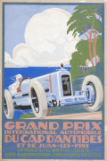 Alexis KOW 1900- 1978 Gouache Grand Prix International Automobile du Cap d'Antibes et de Juan les Pins, 1929
