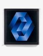 Victor VASARELY (1906 - 1997) Gesalt Blue - july 1973 Basf Luran