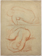 Aristide MAILLOL 1861 - 1944 Ensemble de deux dessins Fillette à la robe (I/II)