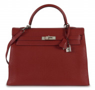 HERMÈS 2004  Sac KELLY 35 Veau Togo rouge Garniture métal argenté palladié  KELLY 35 bag Red Togo calfskin leatherR...