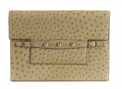 HERMÈS 1985  Pochette MULTI Autruche naturel (Struthio camelus) NR Garniture métal plaqué or  MULTI clutch Natural o...