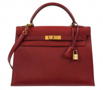 HERMÈS 1990  Sac KELLY Sellier 32 Veau Epsom rouge Garniture métal plaqué or  KELLY Sellier 32 bag Red Epsom calfski...