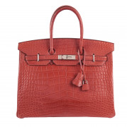 HERMÈS 2011  Sac BIRKIN 35 Alligator mat Sanguine (Alligator mississippiensis) II/B Garniture métal argenté palladié  ...