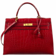 HERMÈS 1996  Sac KELLY Sellier 35 Alligator lisse rouge (Alligator mississippiensis) II/B Garniture métal plaqué or  K...