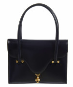 HERMÈS  Sac LOTO Box bleu marine Garniture métal plaqué or  LOTO bag Navy blue box calfskin leather Gilt metal hardw...