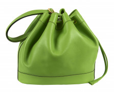 HERMÈS 1998  Sac MARKET Veau Swift vert pomme Garniture métal plaqué or  MARKET bag Apple green Swift calfskin leath...