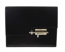 HERMÈS 2017  Pochette VERROU Box noir Garniture métal argenté palladié  VERROU clutch Black box calfskin leather S...