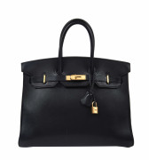 HERMÈS 1996  Sac BIRKIN 35 Cuir lisse bleu marine Garniture métal plaqué or  BIRKIN 35 bag Navy blue smooth leather...