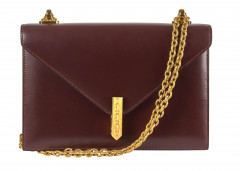 HERMÈS 1986  Sac ALCAZAR Box bordeaux Garniture métal plaqué or  ALCAZAR bag Burgundy box calfskin leather Gilt me...