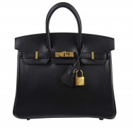 HERMÈS 2017  Sac BIRKIN 25 Veau Swift noir Garniture métal plaqué or  BIRKIN 25 bag Black Swift calfskin leather G...