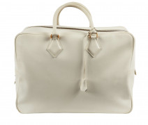 HERMÈS 1995  Sac PLUME 45 Cuir lisse blanc Garniture métal plaqué or  PLUME 45 bag White smooth leather Gilt metal...