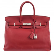 HERMÈS 2008  Sac BIRKIN 35 Veau Swift rouge Garniture métal argenté palladié  BIRKIN 35 bag Red Swift calfskin leath...