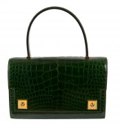 HERMÈS 1988  Sac PIANO Alligator lisse vert Émeraude (Alligator mississippiensis) II/B Garniture métal plaqué or  PIAN...