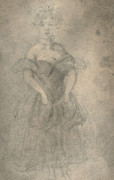 Constantin Guys Flessingue, 1802 - Paris, 1892 Lorette Crayon noir,