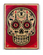 Shepard FAIREY (Alias OBEY GIANT) (Américain - Né en 1970) Power & Glory Day of the Dead Skull (Red)- 2014 Sérigraphie, technique mi...
