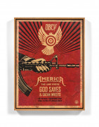 Shepard FAIREY (Alias OBEY GIANT) Américain - Né en 1970 God Saves and Satan Invests - 2013 Technique mixte et collages sur fond sér...