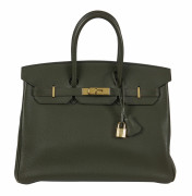 HERMÈS 2003  Sac BIRKIN 35 Veau Togo kaki Garniture métal plaqué or  BIRKIN 35 bag Kaki Togo calfskin leather Gilt...