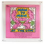 Keith HARING 1958 - 1990 Man to Man at the gym featuring Paul Zone- 1987 Impression offset sur disque 33T et pochette de disque