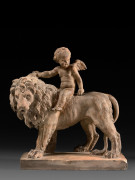Augustin PAJOU Paris, 1730 - 1809 Amour chevauchant un lion Terre cuite originale