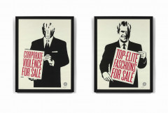 Shepard FAIREY (Alias OBEY GIANT) (Américain - Né en 1970) Corporate violence for sale / Top-Elite Fashions for sale - 2011 Sérigrap...