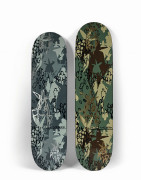 ZOO YORK x FUTURA 2000  Jungle Camo (grey and green) (Set de 2) - 2001 Sérigraphie sur planches de skate en bois