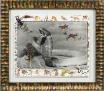 PETER BEARD Né en 1938 Spitting Cobra, Tsavo - 1960 Tirage argentique avec rehaut de gouache et collage, dessins et annotations par...