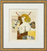 Richard LINDNER (1901 - 1978) WOMAN AND DOG - 1977 Mine de plomb, aquarelle et collage sur papier