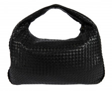 BOTTEGA VENETA  Sac VENETA Cuir tressé noir Garniture métal doré (47 x 27 x 7 cm)  VENETA bag Black woven leather ...
