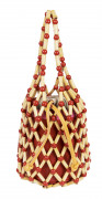 WAIWAI  Sac FEFI Perles en bois, cuir rouge, rose et orange (15 x 20 x 15 cm)  FEFI bag Wooden beads, red, pink and or...
