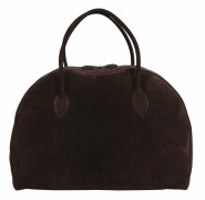 ALAÏA  Grand sac Daim chocolat Garniture métal chromé (48,5 x 35,5 x 20 cm)  Large bag Chocolate buckskin Chrome m...