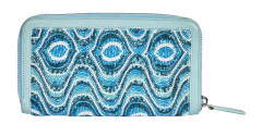 FENDI  Portefeuille Cuir bleu rebrodé de perles (19 x 10 x 2,5 cm)  Wallet Blue leather embroidered with beads (19 x...