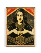 Shepard FAIREY (Alias OBEY GIANT) (Américain - Né en 1970) Peace and Justice Woman - 2013 HPM sur bois