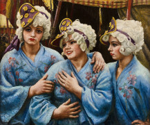 Dame Laura KNIGHT, R.A., R.W.S. 1877 - 1970 Three Spanish Girl Jugglers / Trois jongleuses espagnoles - Circa 1930 Huile sur toile