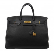 HERMÈS 2008  Sac BIRKIN 40 Veau Togo noir Garniture métal plaqué or  BIRKIN 40 bag Black Togo calfskin leather Gil...