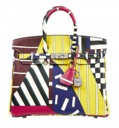 "HERMÈS par NIGEL PEAKE Édition Limitée 2018  Sac BIRKIN 25 ""ONE TWO THREE AND AWAY WE GO"" Veau Swift multicolore Garnitu..."